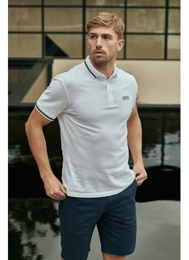 Barbour B.Int. Grid Tipped Polo Yaka Wh11 White Beyaz